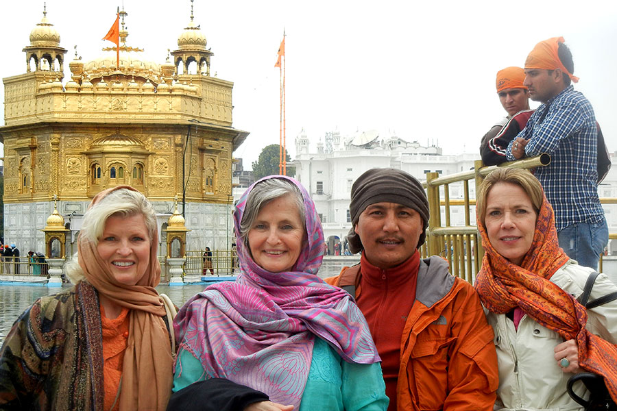 With Rev. Susan Sims Smith, Lama Tenzin Choegyal and Patti Bailey at the Golden Temple, Amritsar, India, 2012