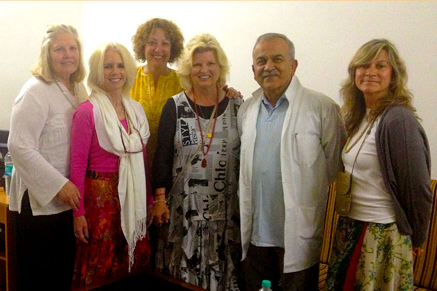 Our group visiting with Dr. Vinay Rai, Chief of Staff of the large charity hospital, Shri Mahant Indresh Hospital, in Dehradun, India. 2013. Dr. Betty Everett, Nancy O'Donnell, LPC, Dr. Ana Nogales, Sonnee, Dr. Rai, Claudia Diaz.
