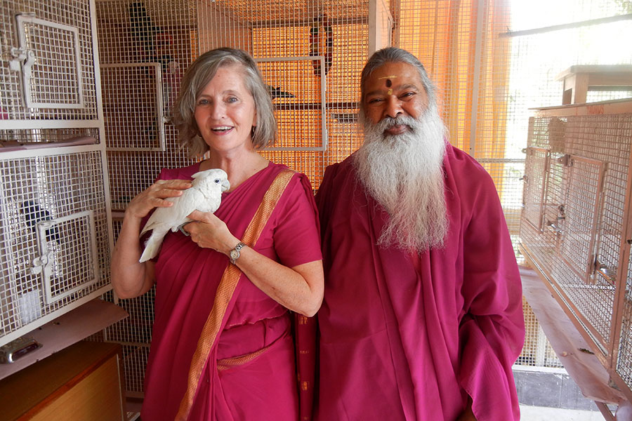 Rev. Susan Sims Smith and Swamiji, where we visited at the Avadhoota Datta Peetham ashram, Mysore, India, 2012