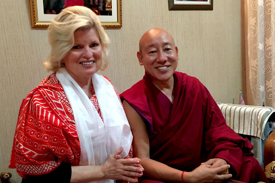 Receiving a blessing from Kuten La, The State Oracle of Tibet