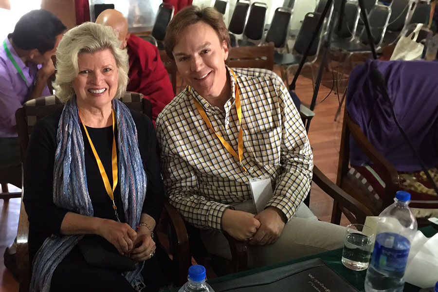 With Dr. Terry Eagan, presenting at the Tibetan Medical and Astro Society conference. Dharmsala, India