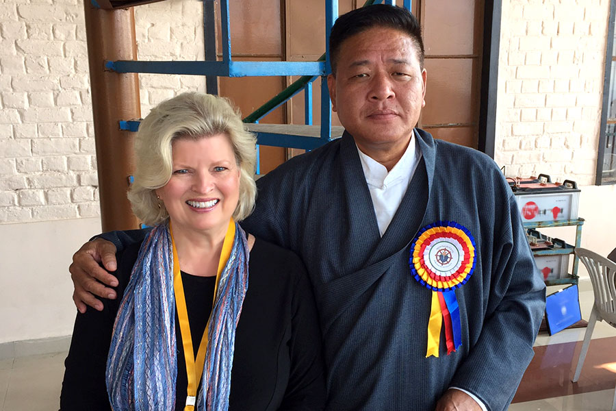 With head of Tibetan Parliament (Government in Exile). Dharmsala, India