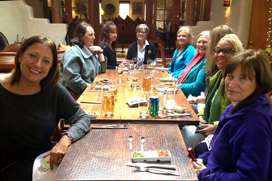 Women's Leadership Group Training – Dr. Ana Nogales, Cara Tripodi, LCSW, Kelly McDaniel, LPC, Beata Lundeen, RN, Dr. Suzie LaFreniere, Dr. Betty Everett, Dr. Elizabeth Reed, Dr. Valata Jenkins-Monroe, and Dana Patterson. Santa Fe, NM 2014