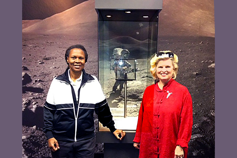 Col. Yvonne Cagle, M.D., NASA astronaut and Sonnee at the NASA Space Museum, Mt. View, CA 2014