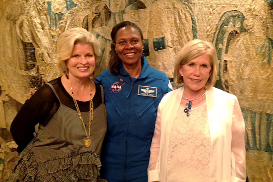 Sonnee, Col. Yvonne Cagle, M.D., and Janet Ray, Chairman of Innovators of the Discovery Cube Science Museum, at a book signing and discussion luncheon, Newport Beach, CA 2014